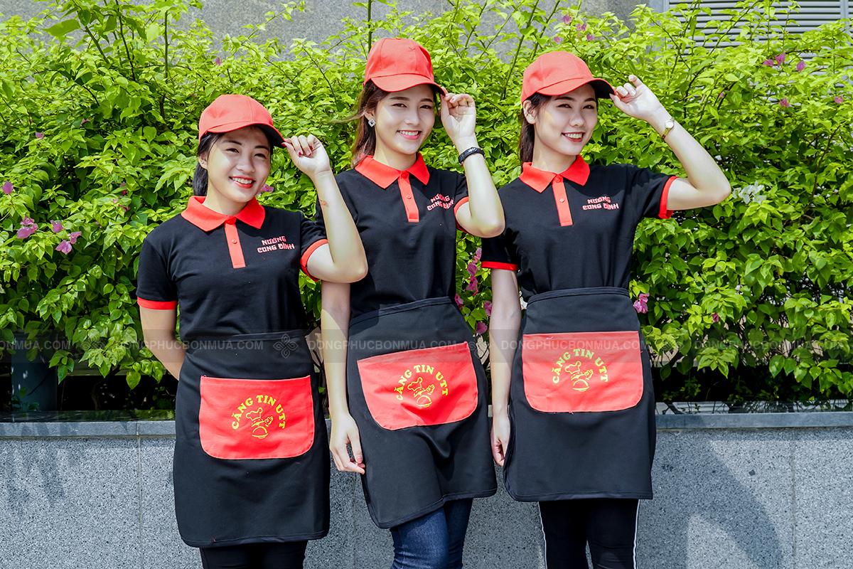 Sự kết hợp các màu sắc đen - đỏ mang đến sự nổi bật cho đội ngũ nhân viên.