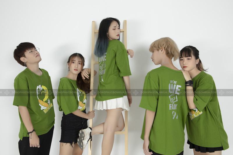 Sắc xanh tươi mát cho mẫu áo thun đồng phục.