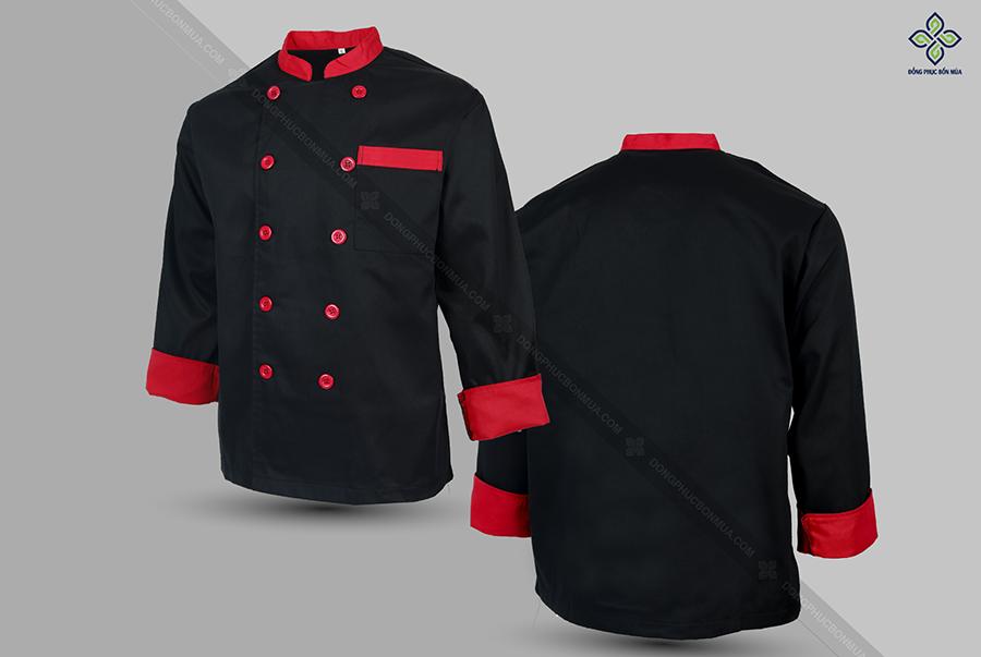 Màu đen giúp đồng phục bếp được sạch sẽ, chỉn chu
