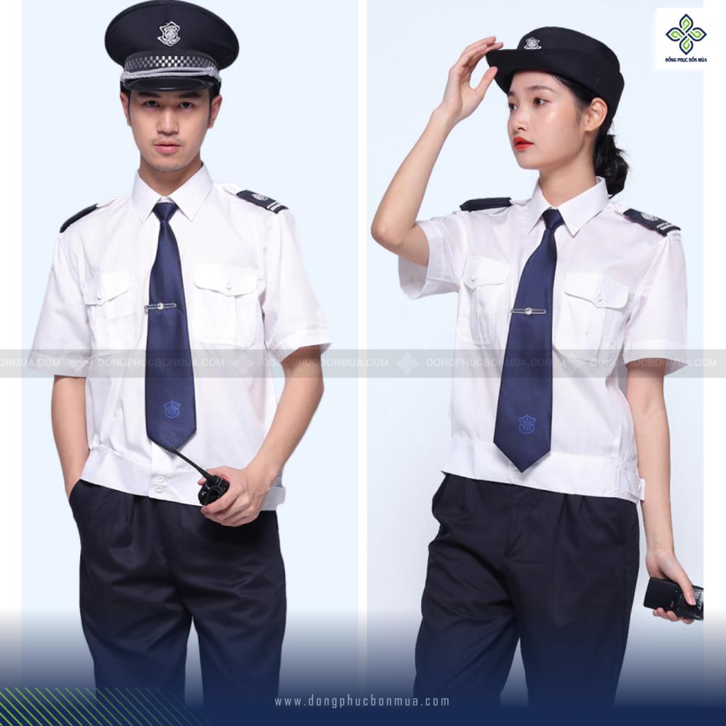 Đồng phục bảo vệ màu trắng tay ngắn