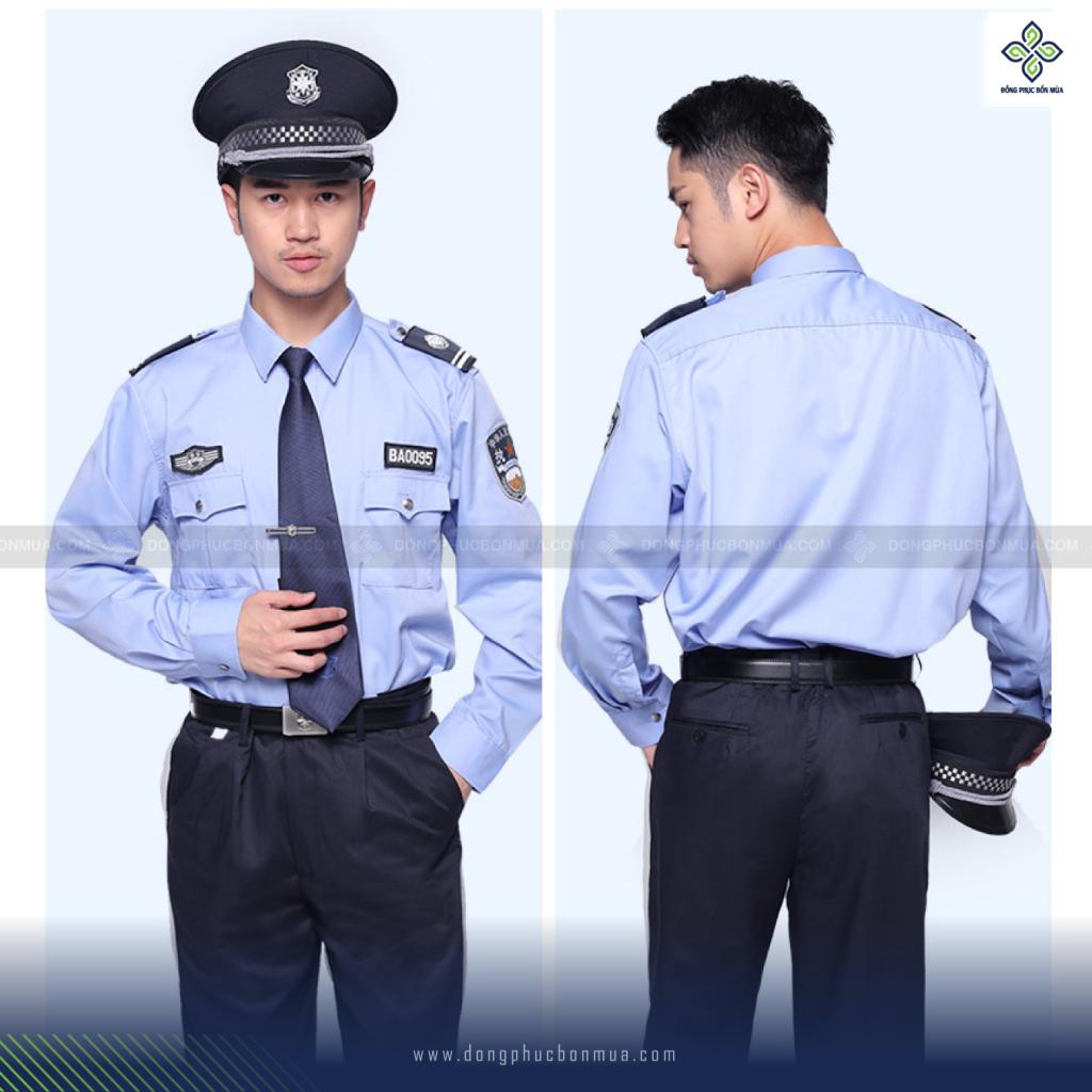 Áo đồng phục bảo vệ màu xanh basic