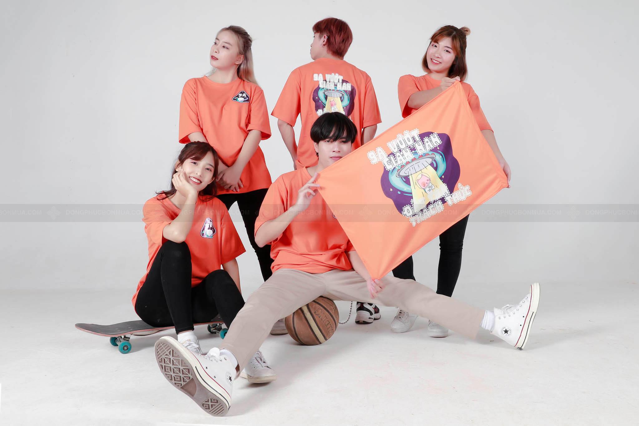 Mẫu áo đồng phục màu cam tươi