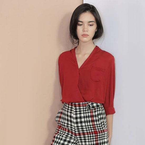 áo sơ mi đỏ đô nữ
