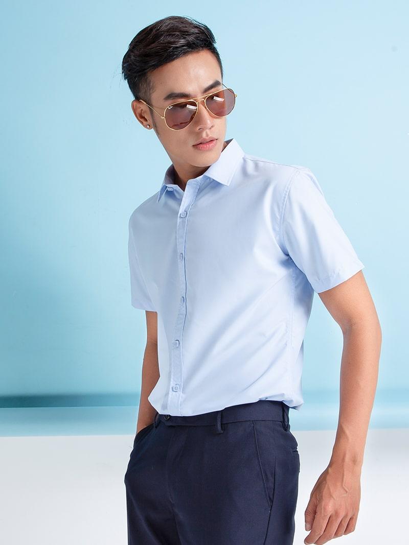 áo sơ mi xanh dương nhạt nam