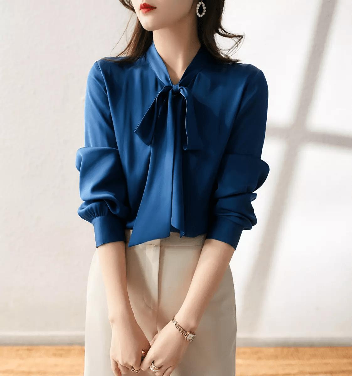 áo sơ mi nữ màu xanh dương
