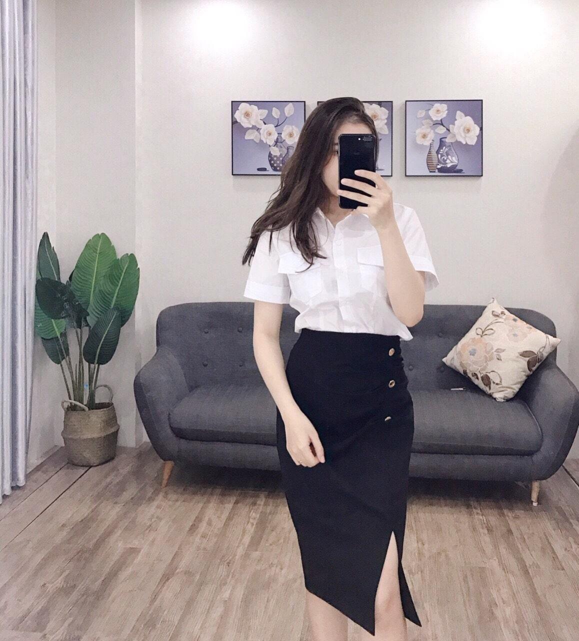 mẫu đồng phục chân váy