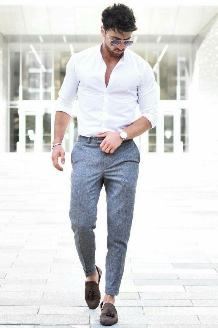 quần tây sơ mi trắng mang giày gì