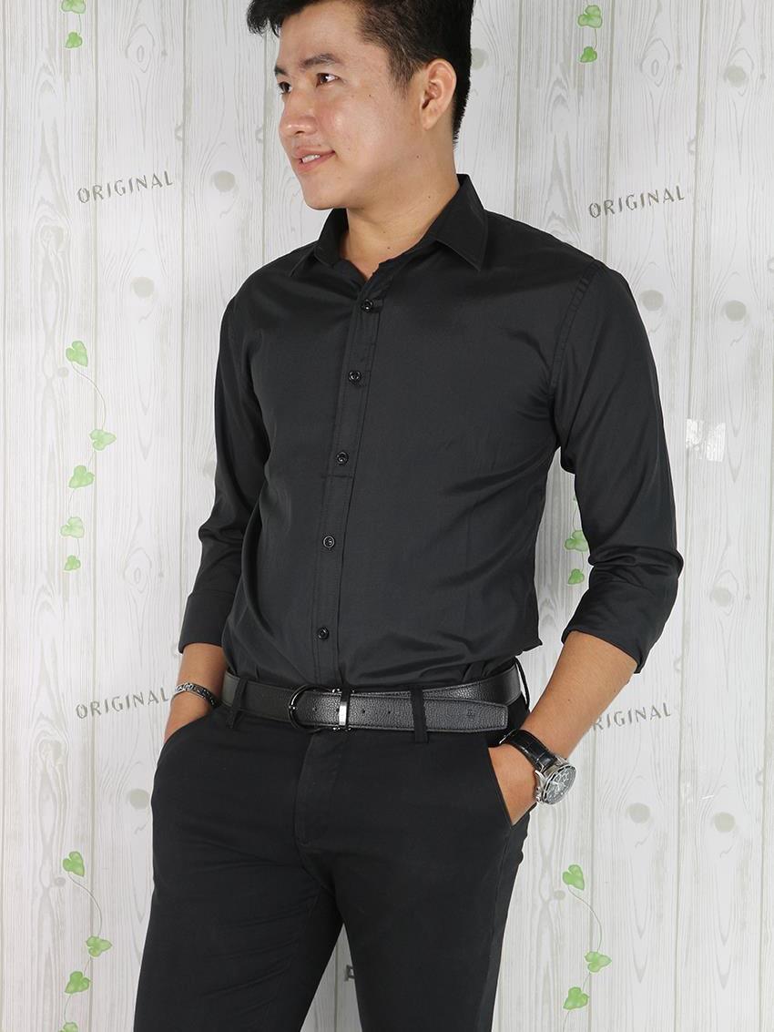 áo sơ mi nam đen tay dài