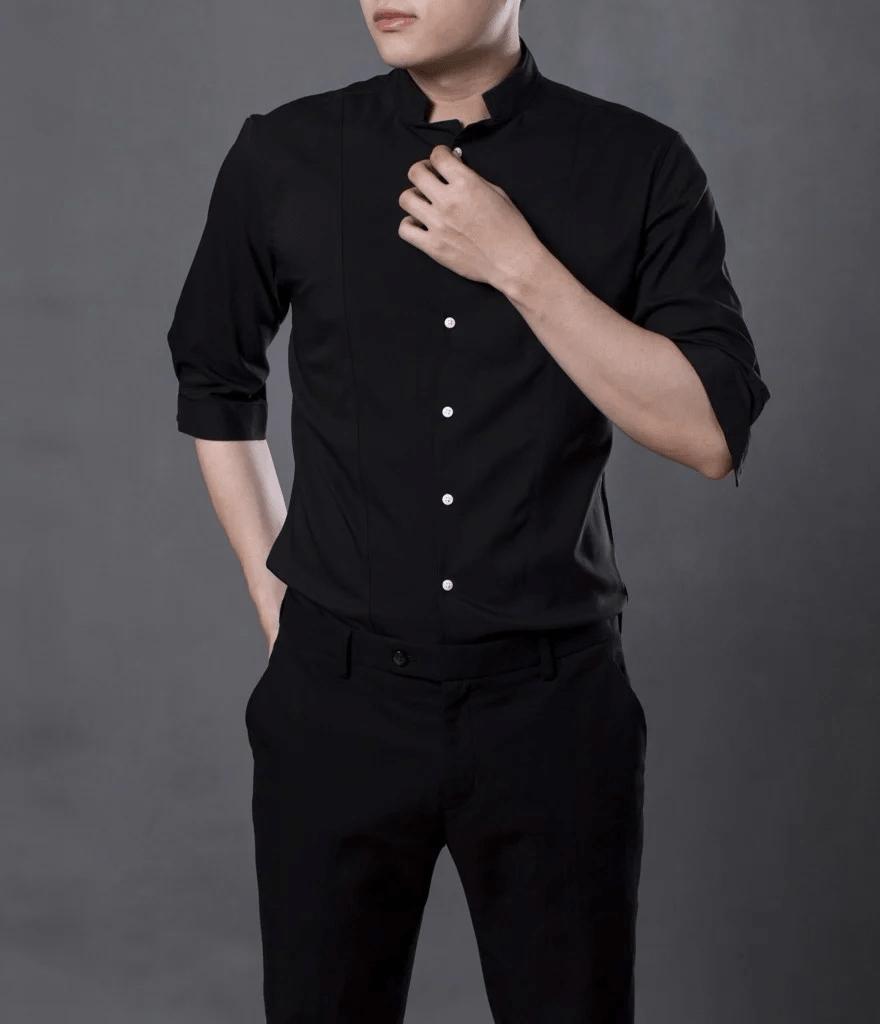áo sơ mi nam đen trơn